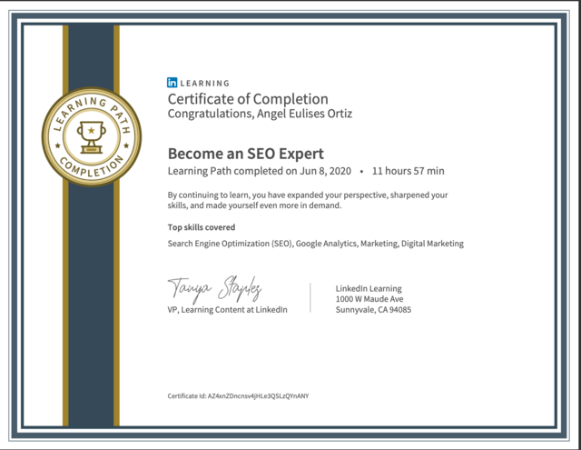 certificate-become-seo-expert-linkedin-learning Angel Eulises Ortiz